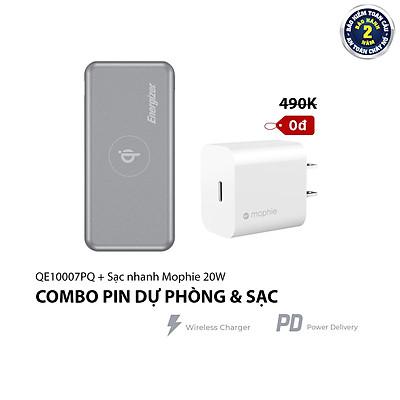 Combo Pin sạc dự phòng Energizer QE10007PQ + Củ Sạc Nhanh Mophie 20W - HÀNG CHÍNH HÃNG