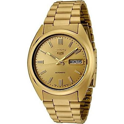 Seiko Men's SNXS80K Seiko 5 Automatic Gold Dial Gold-Tone Stainless Steel Watch