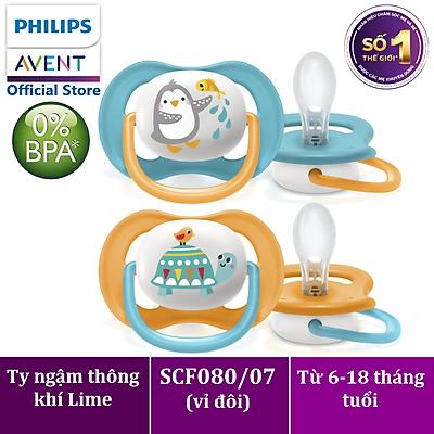Núm ty ngậm thông khí Philips Avent hình thú (phiên bản Lime) cho trẻ từ 6-18 tháng tuổi _ vỉ đôi