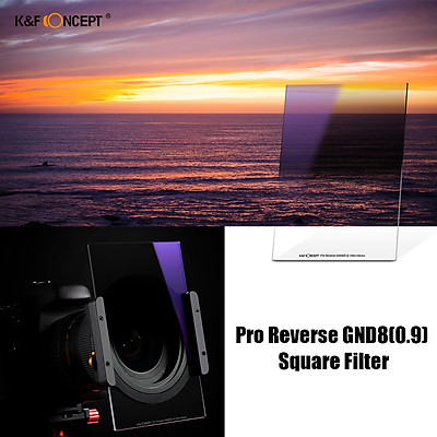 K&F Concept 100 x 150 x 2.0mm Pro Reverse GND8(0.9) Square Filter 100mm Graduated Neutral Density Filter HD Optical GlassGradient
