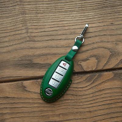 Vỏ bao chìa khóa N.i.s.s.a.n NAVARA - màu xanh lá - da bò nhập khẩu - sản phẩm thủ công DT441