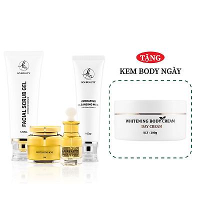 Bộ 4 bước chăm sóc da Trắng sáng Ngừa mụn KN Beauty chuyên sâu: Kem dưỡng 25g + Serum 30ml + Sữa rửa mặt 100gr + Tẩy tế bào chết  100ml (Tặng Body Bơ Ngày)