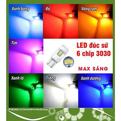 Đèn xi nhan LED T10 đúc sứ - xi nhan demi cho xe máy T10 6 Led ( 6smd 3030 ) DC 12V Green Networks Group ( 1 Đèn )