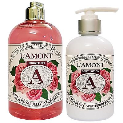 Combo Chăm Sóc Da L'amont En Provence Rose Sữa Tắm (500ml) + Sữa Dưỡng Thể (250ml)