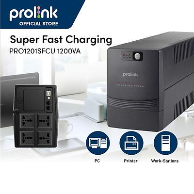 Bộ nguồn cấp điện liên tục UPS PROLINK 1200VA (PRO1201SFC) Công suất 600W, Công nghệ Line Interactive tích hợp bộ AVR, sạc siêu nhanh - Hàng chính hãng