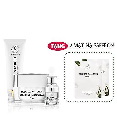 Bộ 3 sản phẩm Trắng Da Ngừa Nám KN Beauty chuyên sâu:Kem dưỡng 25g + Serum 30ml+ Tẩy tế bào chết 120ml  (Tặng 2 Mặt Nạ)