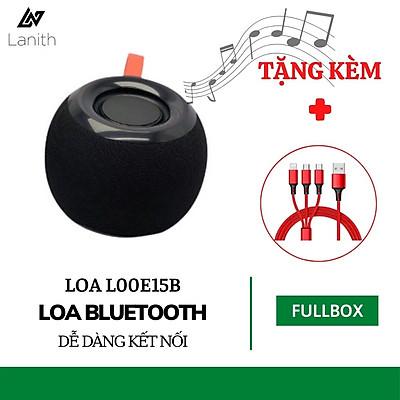 Loa Bluetooth Mini LANITH E15 - L00E15B - Loa Không Dây  Pin Trâu Kèm Đài Radio FM - Hỗ Trợ Thẻ Nhớ, USB, Cổng 3.5 - Âm Thanh Siêu Trầm, Bass Chuẩn - Chống Thấm Nước - Hàng Nhập Khẩu - Tặng Kèm Cáp Sạc 3 Đầu