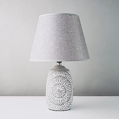 Đèn ngủ gốm vintage màu xám trắng hoa văn DS-TL9616