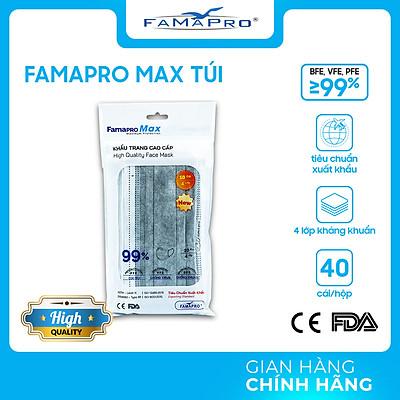 [TÚI - FAMAPRO MAX] - Khẩu trang y tế kháng khuẩn 4 lớp Famapro Max (10 cái/ túi) - 1 TÚI