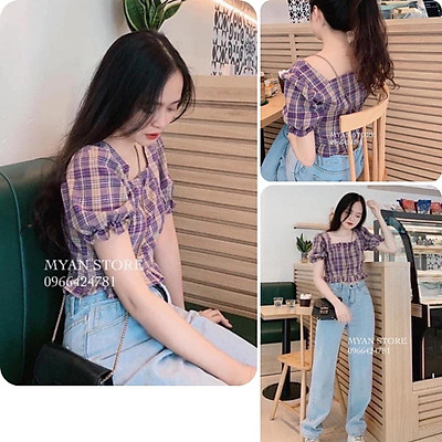 Áo kiểu nữ, áo nữ sọc caro màu tím cổ vuông đủ size S M L A-02