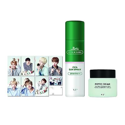 Combo Sản Phẩm Xịt Chống Nắng VT Cica Sun Spray (120ml) + Kèm 1 Set Postcard BTS + 1 Kem Dưỡng Phyto Cream Mini 4ml