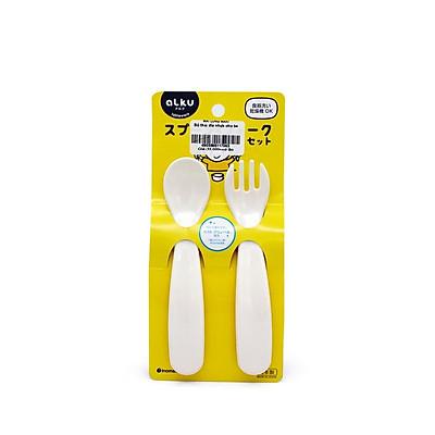 Combo khay ăn dặm 3 ngăn và bộ thìa nĩa nhựa nhập khẩu từ Nhật
