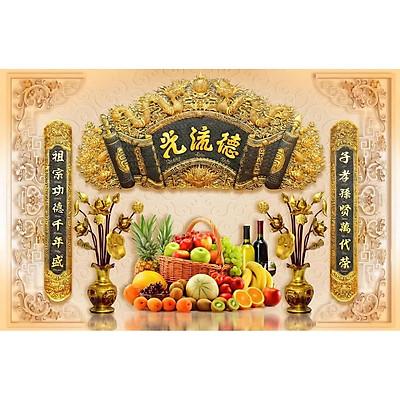 Tranh dán tường 3D phòng thờ mâm ngũ quả - tranh cuốn thư câu đối phòng thờ- tranh trang trí phòng thờ- vải lụa