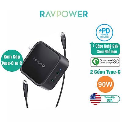 Củ Sạc Điện Thoại Laptop Macbook RAVPower RP-PC128 Kèm Cáp C To C PD 90W Công Nghệ GaN - Hàng Chính Hãng