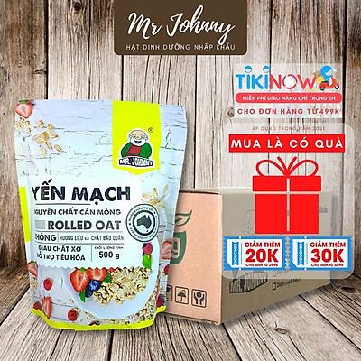 Thùng 10 Bịch 500g Yến Mạch Úc Tươi Mr Johnny - Cho người ăn kiêng, giảm cân - Cán mỏng - Rolled Oat (Vàng)