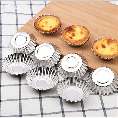 Bộ 10 Khuôn Tart Nhôm Viền Hoa Làm Bánh Trứng 7cm