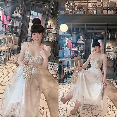 Đầm dự tiệc công chúa tay dài ren mi kết cườm TRIPBLE T DRESS - size M/L (kèm ảnh/video thật ) MS283V