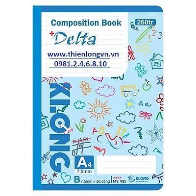 Sổ may dán gáy A4 - 260 trang; Klong 925 bìa xanh