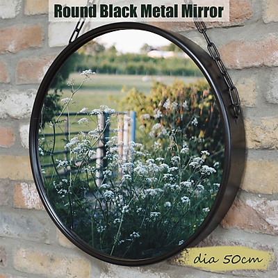 50cm Round Industrial Black Metal Mirror Hanging Chain Wall Mounted Retro Decor