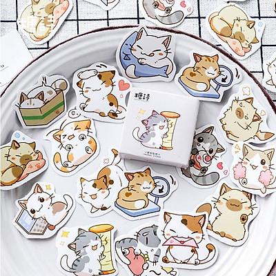 Hộp 45 Miếng Dán Sticker Trang Trí  Mèo Nhật Bản
