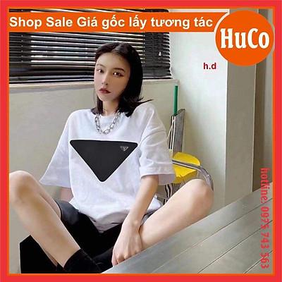 bộ đồ nam nữ, áo thun ngắn tay tam giác chất cotton + quần đùi đen ống rộng form rộng chuẩn ảnh unisex freesize