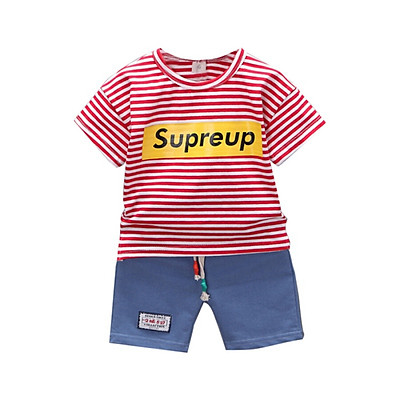 Letter O-Neck Red/Gray/Black Summer Casual 1-4Y Children Striped T-Shirt And Pant Kit Kids Toddler Two-piece Outfit Set S/M/L/XL