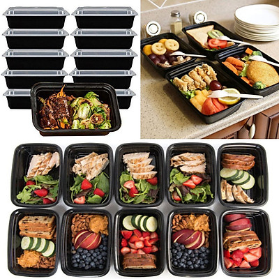 10 Set 16oz Food Prep Meal Storage Containers Lids Lunch Boxes Microwavable