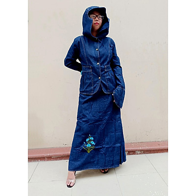 BỘ ĐỒ CHỐNG NẮNG JEAN CAO CẤP - Bao gồm Áo khoác chống nắng & Váy chống nắng Jean loại 1 tà có thêu họa tiết Hoa Thanh Tú nổi bật