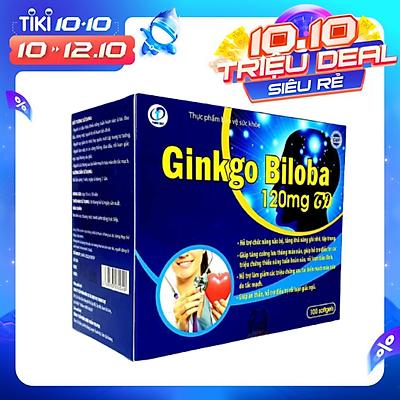GINKGO BILOBA - Viên uống hỗ trợ chức năng não bộ, Giúp tăng cường lưu thông máu não, Giúp an thần, hỗ trợ điều trị rối loạn giấc ngủ (Hộp 100 viên)
