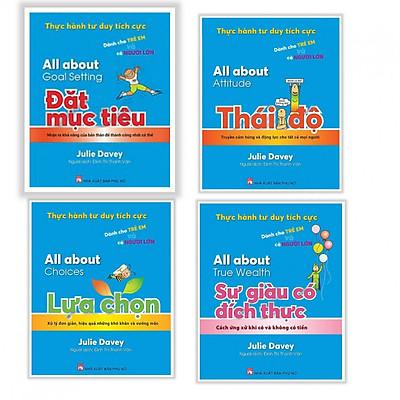Combo sách Thực hành tư duy tích cực dành cho trẻ em cả người lớn : All about goal something - Đặt mục tiêu + All about attitude- Thái độ + All about choices- Lựa chon + All about True wealth - Sự giàu có đích thực - Tặng kèm bookmark