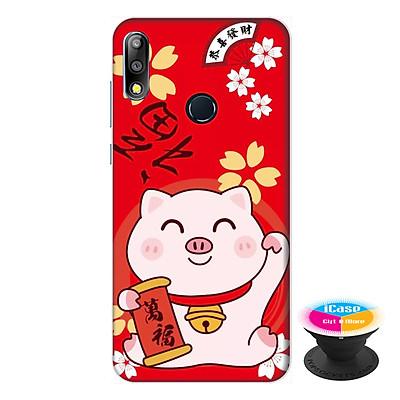 Ốp lưng cho  điện thoại Asus Zenfone Max Pro M2 hình Mèo May Mắn Mẫu 1 tặng kèm giá đỡ điện thoại iCase xinh xắn - Hàng chính hãng
