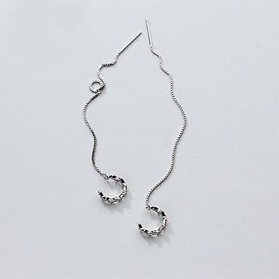 Bông tai khuyên tai bạc kẹp vành tai nữ thả thanh dài phong cách Hàn Quốc thiết kế độc đáo cá tính tặng thẻ Vcone