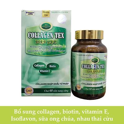 Viên uống Diệp Lục Collagen Tex HDPHARMA bổ sung thêm vitamin e, Isoflavon, sữa ong chúa, làm đẹp da chống lão hóa 60 viên