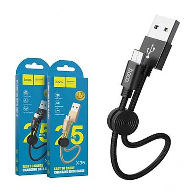 Cáp sạc ngắn bọc dù hoco x35 Micro usb dây dài 25cm 2.4a - dây sạc cho pin sạc dự phòng andorid cho samsung xiaomi ...vv giao mầu ngẫu nhiên - hàng chính hãng