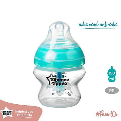 Bình sữa siêu chống đầy hơi kèm báo nhiệt Tommee Tippee Advanced Anti-Colic 150ml, núm ty đi kèm 0-3 tháng