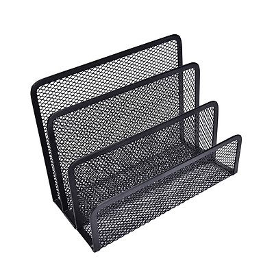 Khay lưới 3 ngăn kim loại bền đẹp, kiểu dáng đơn giản để thư tài liệu đa năng cho bàn học, bàn làm việc gọn gàng - ĐEN