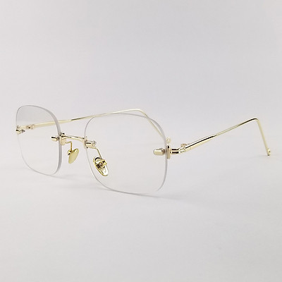 Gọng kính nam nữ mắt cận chữ nhật không viền SA3511 màu bạc, đen, vàng. Tròng kính giả cận 0 độ chống ánh sáng xanh, chống nắng và tia UV