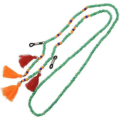Glass Beads Strand Eyeglass Sun Glasses Cord Tassel Necklace Lake Blue