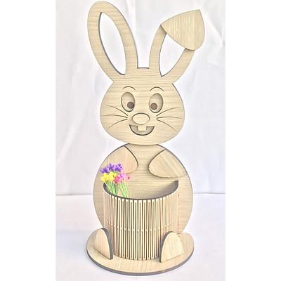 Hộp cắm bút, hộp bút để bàn hình con thỏ có khay to để bút viết thích hợp làm quà tặng, trang trí decore bàn học bàn làm việc
