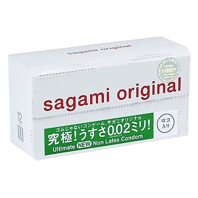 Bao cao su Sagami Original 0.02 cao cấp, siêu mỏng (Hộp 12 chiếc)
