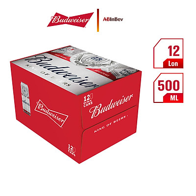 Thùng 12 Lon Bia Budweiser (500ml / Lon)