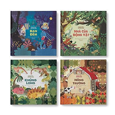 Bộ 4 cuốn Khám phá thế giới nhỏ (Ban đêm + Nông trường + Khủng long + Nhà của động vật)