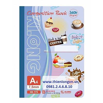 Sổ may dán gáy A4 - 360 trang; Klong 975 bìa tím