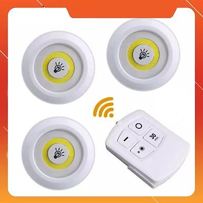 Bộ 3 Đèn LED chiếu sáng không dây - Dán tường, 2 chế độ sáng, có điều khiển từ xa, dùng pin