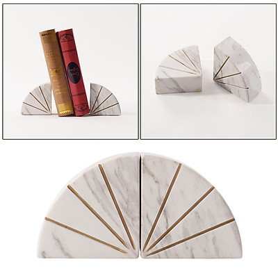 Heavy Decorative Bookend Non-slip Handcrafted Natural Marble Polished Book End Book Stopper Decoration