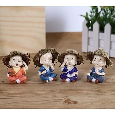Bộ tượng 4 chú tiểu đội nón rơm ( Cầm - Kỳ - Thi - Họa ) - Phật Duyên Shop