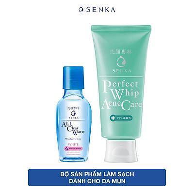 Combo Sữa rửa mặt dành cho da mụn Senka Perfect Whip Acne Care 100g + Nước tẩy trang Senka All Clear White 70ml