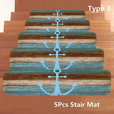Blue Ship Anchor Print Bathroom Decoration Mildew-proof Waterproof Shower Curtain+ Non Slip Bathroom Pedestal Rug + Toilet Lid Cover + Floor Mat Bath Mat + 5Pcs Stair Mat