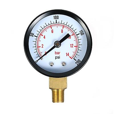 Máy Đo Áp Suất Không Khí Và Nước Bể Cá Cơ Học (0~200psi) (0~14bar) (1/8 inch)