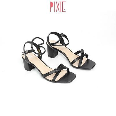 Giày Sandal Cao Gót 5cm Quai Chéo Mảnh Phối Màu 5cm Pixie X532